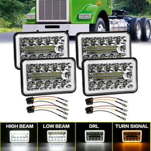 4PCs 4x6''LED Headlights For Kenworth T800 Freightliner FLD120 Peterbilt 379 378