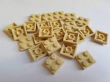 Lego Tan Plate 2x2, Part 3022, Element 4114084, Qty:25 - New