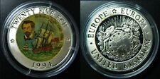 1994 Great Britain Large Silver Color Proof  Ecu Drake/Sailig Ship-mintage 1000