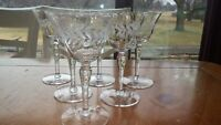 Vintage Cordial Liqueur Glasses Laurel Leaf Optic panel bowl 6 4 oz hand blown