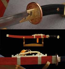 HANDMADE RED ROSE WOOD  FOLDED STEEL SHARP COPPER TSUBA  CHINESE QING SWORD