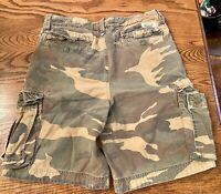 Abercrombie Fitch Cargo Shorts Camo 31 Vintage Adirondacks Worn