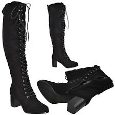 Womens Over the Knee High Boots w/ Lace Up Block High Heel Sexy Fabric Boots