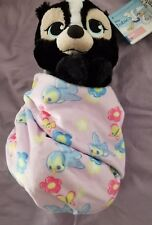 "Disney Parks Flower Baby Plush with Blanket Pouch 10"" Babies New with Tags"