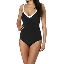Seafolly Block Party Sweetheart Maillot One-Piece Swimsuit Black US 8 (AU 12)