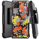 Holster Case For LG K92 5G (2020) Kickstand Phone Cover - ORANGE STYLISH CAMO