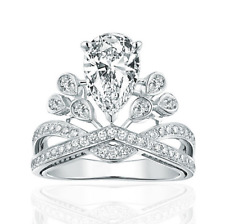Fashion 925 Sterling Silver Zircon Crown Wedding Party Ring Size O Adjustable