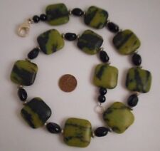 Chunky Square Olive Green Serpentine ? Gemstone Necklace 139 Gr Silver Tone