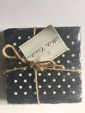 4 Count Slate Coasters With White Polka Dots