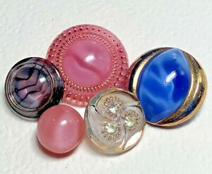 5 Glass Moonglow Buttons, White w Green Paste, Striped, Ball, Gold Luster Border