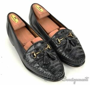 BELVEDERE FLORENCE Solid Black Leather CROCODILE Loafer Dress Shoes - 8.5 M