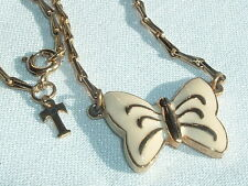 VINTAGE CROWN TRIFARI GOLD TONE CREME ENAMELED BUTTERFLY NECKLACE