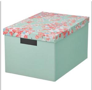 TJENA Storage box with lid, flower/light green 25x35x20cm , New