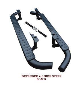 LAND ROVER DEFENDER 110 SIDE STEPS RUNNING BOARDS OEM FIT BLACK EDITION