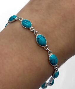 Elegant Sterling Silver 925 Ladies Turquoise Designer Bracelet Bangle Gemstone