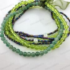 MULTI GREEN stretch GLASS BRACELETS SET beaded JADE/PERIDOT/OLIVE GREENS peacock