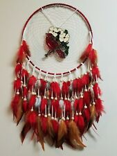 Cardinal Stained Glass Suncatcher Dreamcatcher Red White Brown