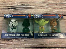 Star Wars Yoda Chewbacca  Darth Vader Mini Bobble-Head 2 Pack Funko Rare Lot
