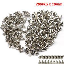 200 x 10mm Silver Spots Cone Screw Metal Studs Leathercraft Rivet Bullet Spikes