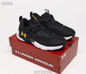 Black White Gold Under Armour UA HOVR apex 3 men's sports training shoes US7-11