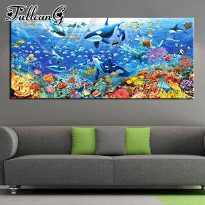 FULLCANG 5d diy full square round drill large diamond painting underwater world