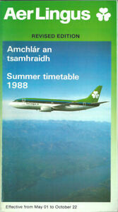 Aer Lingus Irish Airlines system timetable 5/1/88