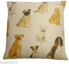 "FILLED EVANS LICHFIELD DOGS WESTIE SPANIEL PUG LABRADOR CUSHION 17"" 50% OFF"