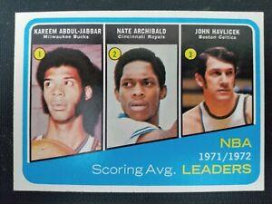 1972-73 Topps #172 NBA Scoring Avg Leaders- Kareem/Archibald/Havlicek- EX