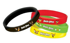ANGRY BIRDS  BIRTHDAY party supplies rubber slip-on BRACELETS favors 4pcs
