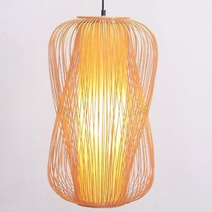 Restaurant Bamboo Long Lantern Ceiling Pendant Lights Living Room Hanging Lamp