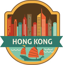 "Hong Kong China World City Travel Label Badge Car Bumper Sticker Decal 5"" x 5"""