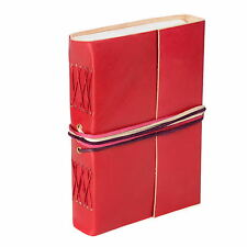 Coloured Leather Journal, Red, 115 Unlined Recycled Paper Pages Notebook Diary