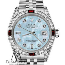 Ladies Rolex 26mm Datejust Baby Blue MOP 8+2 Dial Ruby & Diamond Bezel Watch