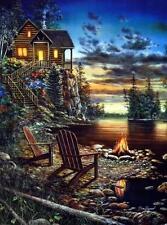 "Jim Hansel ""Summer Pleasures"" Cabin Lake Art Pint  7.75"" x 12"""