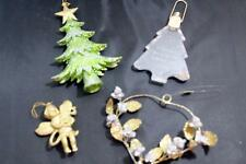Lot of 4 Vintage Tree Ornaments Trees, Angel, Heart Made in Philippines