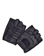 Tennessee Leather Mens Black Leather Fingerless Driving Gloves Padded Palms 1824