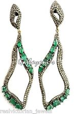 Cut Diamond & Emerald Long Earring Stunning Attractive 14K Gold/Silver Fine Rose