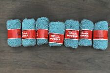 Lot Yarn 7 Skeins Vintage Peacock Poodle Boucle Blue Pure Wool