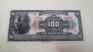 PERU :  Scarce  Banknote of 100  Soles - Reproduction