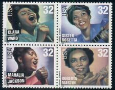 #3219A, 32¢ Gospel Singers Stamps Lot Of 75 Blks. Of 4, Spice Up Your Mailings!