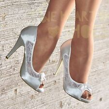 Ladies Satin High Heel shoes Womens Lace Peep Toe Pumps Evening heels Bow Size