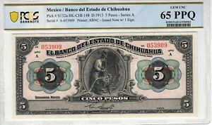 Mexico 1913 5 Pesos Chihuahua PCGS Banknote Certified Gem UNC 65 S132a ABNC