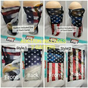 Face Mask Gaiter 2 Pack American Eagle Flag Constitution Liberty Gator Cover NEW