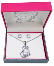 Heart Cubic Zirconia Necklace Earring Set Silver Plated New in Gift Box Hearts