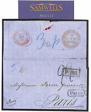 MS2213* 1866 RUSSIA UNDERPAID DESTINATION MAIL St Petersburg Cover Paris *Porto*