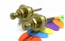 Groove Gold Strap Locks - Electric Bass Acoustic Guitar - Pair - 6 Free Picks