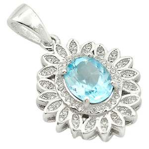 5.53cts Natural Blue Topaz Topaz 925 Sterling Silver Pendant Jewelry C18140