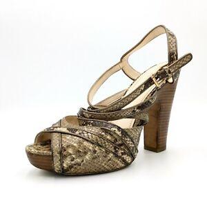 Coach Karolina Python Snake Strappy Platform Shoe Peep Toe Sandal Heel Pumps 10