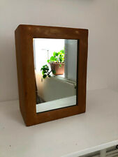 "Small Wooden Cabinet 13"" x 10"" x 6"" with Mirror"