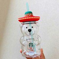 Starbucks Tumbler Summer Latin American Straw hat bear 17oz Cold Water Glass Cup